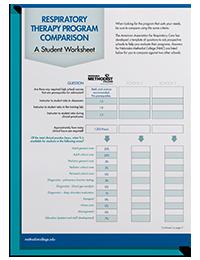 Respiratory Therapy Program Comparison Worksheet