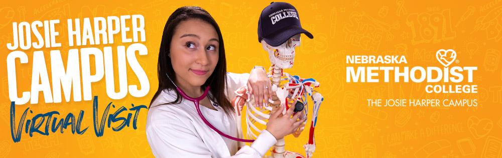 Josie Harper Campus Virtual Visit - Nebraska Methodist College - student with stethoscope